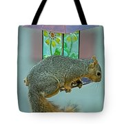 Squirrel At The Bird Feeder Tote Bag