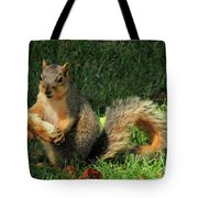 Squirrel Eating Pizza Tote Bag