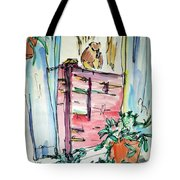 Squirrel On Fence Tote Bag