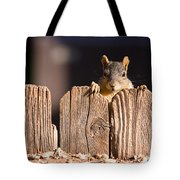 Squirrel On The Fence Tote Bag