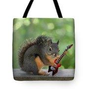 Squirrel Playing Electric Guitar Tote Bag