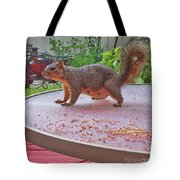 Squirrel Visits Me Tote Bag