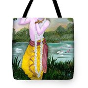 The Divine Flute Player, Sri Krishna Tote Bag