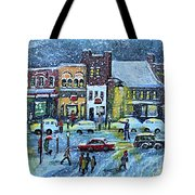 Snowing In Concord Center Tote Bag