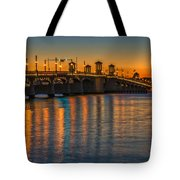 St Augustine Bridge Of Lions Sunset Dsc00433_16 Tote Bag
