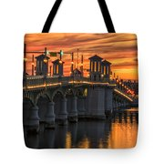St Augustine Bridge Of Lions Sunset Dsc00565_16 Tote Bag