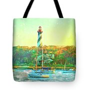 St Augustine Lighthouse Waterscaped Tote Bag