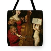 St. Cecilia With An Angel Holding A Musical Score Tote Bag by Domenichino