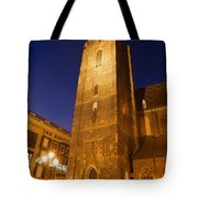 St. Elizabeth's Church Tower At Night In Wroclaw Tote Bag