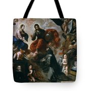 St Francis Of Assisi In The Portiuncula With  Donors Antonio Contreras And Maria Amezqueta Tote Bag