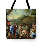 St John Baptising The People Tote Bag by Nicolas Poussin