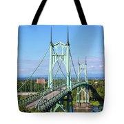 St Johns Bridge Over Willamette River Tote Bag