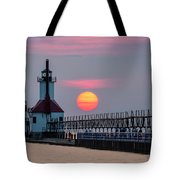 St. Joseph Lighthouse At Sunset Tote Bag