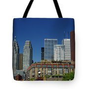 St Lawrence Market And Gooderham Flatiron Building With Cn Tower Tote Bag