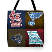 St Louis Sports Fan Recycled Vintage Missouri License Plate Art Cardinals Blues Rams Tote Bag