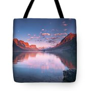 St Mary Lake In Early Morning With Moon Tote Bag