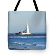 St Mary's Lighthouse Whitley Bay Tote Bag