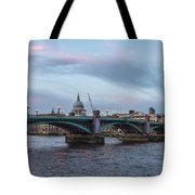 St. Paul's Cathedral Behind The Southwark Bridge During Sunset Tote Bag