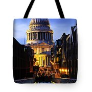 St. Paul's Cathedral From Millennium Bridge Tote Bag by Elena Elisseeva