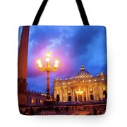 St. Peters Cathedral At Night Tote Bag