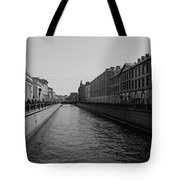 St Petersburg Waterway - Black And White Tote Bag