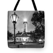 St. Simons Lighthouse Black And White Tote Bag