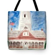 St Simons Lighthouse Nautical Painting Print Tote Bag