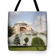 St Sophia Mosque And Fountain In Park Tote Bag