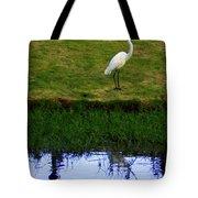 St Thomas Great Egret At The Lake Tote Bag