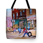 St. Viateur Bagel With Boys Playing Hockey Tote Bag by Carole Spandau