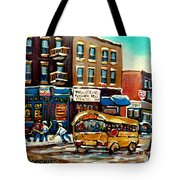 St. Viateur Bagel With Hockey Bus  Tote Bag