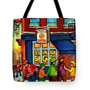 St. Viateur Bagel With Hockey Tote Bag
