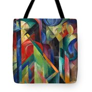 Stables By Franz Marc Bright Painting Of Horses In A Stable Tote Bag