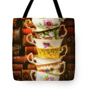Stacked High Tea Cups Tote Bag