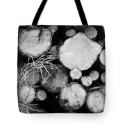 Stacked Wood Logs In Black And White Tote Bag