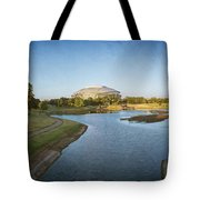 Stadium And Park Panorama Bleach Bypass Tote Bag
