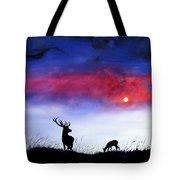 Stag And Deer In Moonlight Tote Bag