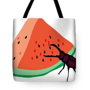 Stag Beetle Is Eating A Piece Of Red Watermelon Tote Bag