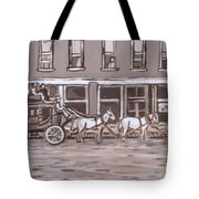 Stagecoach In Saratoga Historical Vignette Tote Bag
