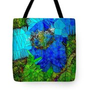 Stained Glass Blue Poppy One Tote Bag