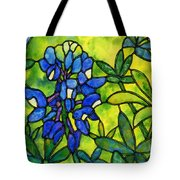 Stained Glass Bluebonnet Tote Bag