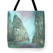 Stained Glass Mountain Temple Tote Bag