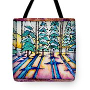 Stained Glass Watercolor Winter Pine Trees Tote Bag