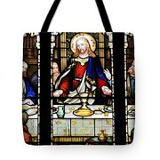 Stained Glass Window Last Supper Saint Giles Cathedral Edinburgh Scotland Tote Bag by Christine Till