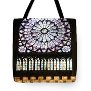 Stained Glass Window Of Notre Dame De Paris. France Tote Bag