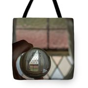 Stained Glass Window With Curtains In Crystal Ball Tote Bag