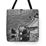 Stairs To Nowhere Pismo Beach Black And White Tote Bag by Priya Ghose