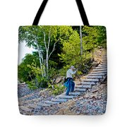 Stairway From Lake Superior Beach To Au Sable Lighthouse In Pictured Rocks National Lakeshore-michig Tote Bag