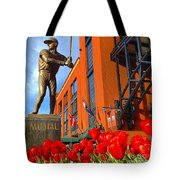 Stan Musial Statue On Opening Day  Tote Bag