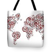 Stanford University Colors Swirl Map Of The World Atlas Tote Bag